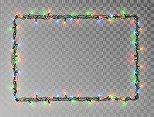 Christmas Lights Border Vector...