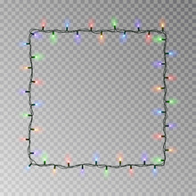 Christmas Lights Square Vector, Light String Frame Isolated On Dark Background With Copy Space. Tran