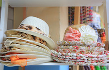 Summer Hats For Sale In A Market Stall Outdoor