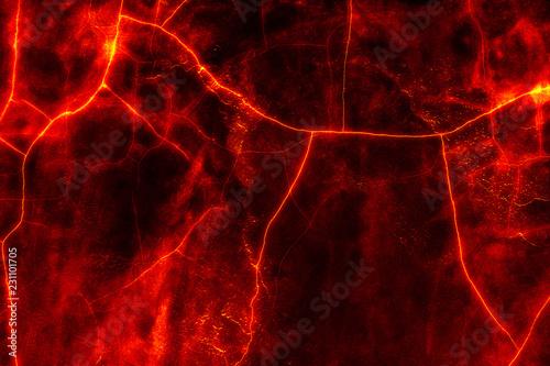 heat red cracked ground texture after eruption volcano Fototapet