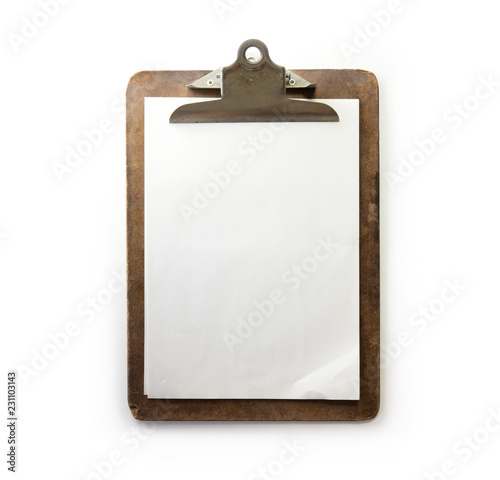 Old used clipboard with sheets of paper and slightly folded corner Canvas Print