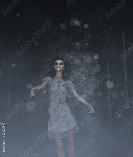 Photo  ghost woman in creepy mask as she have to hiding her face,3d illustration