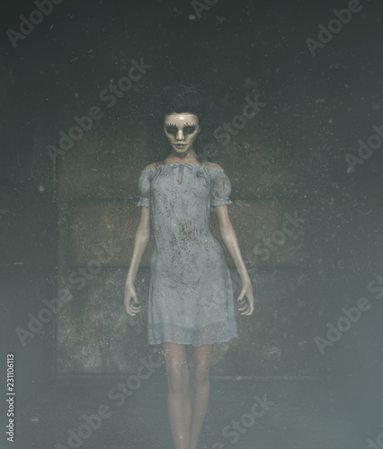 Fotografía ghost woman in creepy mask as she have to hiding her face,3d illustration