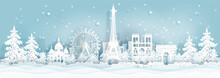 Panorama Postcard And Travel Poster Of World Famous Landmarks Of Paris ,France In Winter Season In Paper Cut Style Vector Illustration