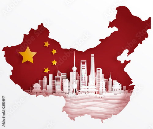 Shanghai, China flag with world famous landmarks in paper cut style vector illus Canvas Print