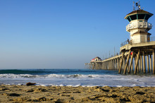 Ocean Pier With Lifeguard Tower