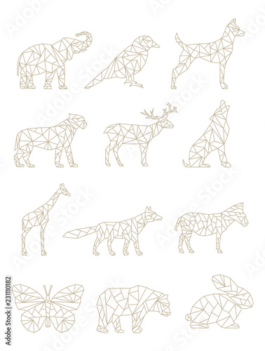 Set Of Geometric Animals Drawings Of Animals In Vector