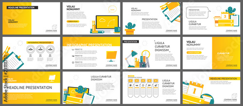 Fototapeta Yellow and white element for slide business office background. Presentation template. Use for annual report, flyer, corporate marketing, leaflet, advertising, brochure, modern style. obraz