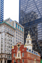 Old State House Among Modern Buildings In Boston, MA, USA