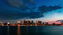 Skyline Of Downtown Boston Over Water At Sunset, In Boston, USA