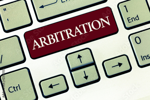 Photo Writing note showing Arbitration