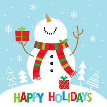 Snowman Christmas Greeting Card