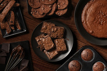 Flat Lay Display Of Fresh Baked Chocolate Desserts