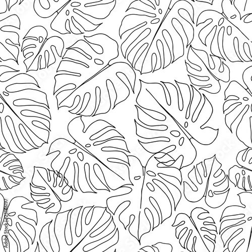 seamless-pattern-with-monstera-leaves-on-white-background-vector-monochrome-illustration