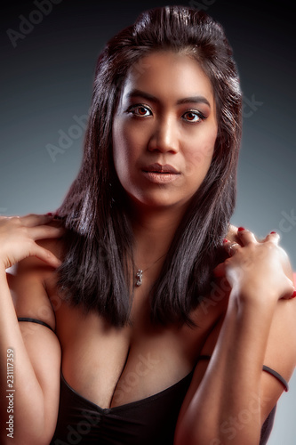 Fotografie, Obraz  body positive Asian woman with long black hair wearing lingerie