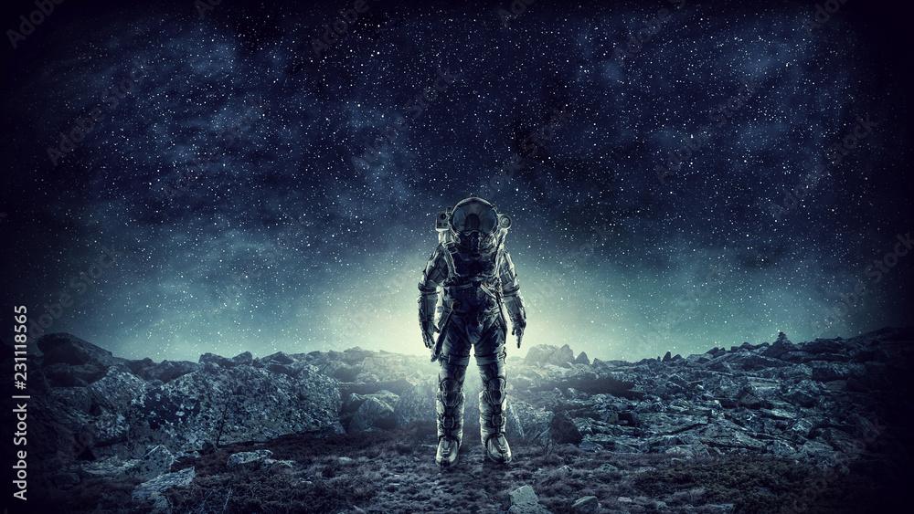 Fototapety, obrazy: Spaceman landing planet. Mixed media