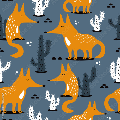 Happy foxes and cacti, hand drawn backdrop. Colorful seamless pattern with animals. Decorative cute wallpaper, good for printing. Overlapping background vector. Design illustration
