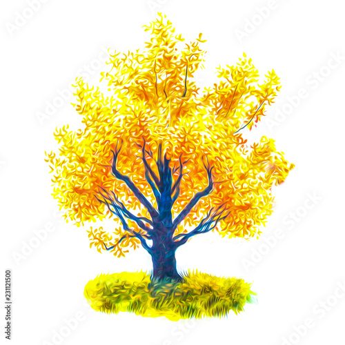 желтое осеннее дерево