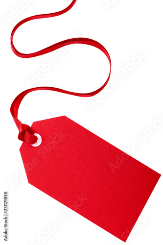 Cuadros en Lienzo Red gift tag vertical isolated