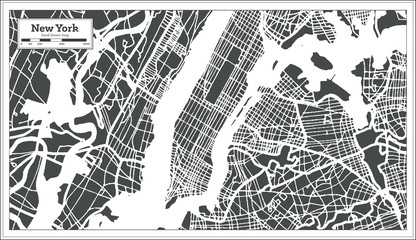 Panel Szklany Nowy York New York USA City Map in Retro Style. Outline Map.