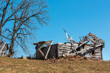 Ruined Shed On Early Spring Pl...
