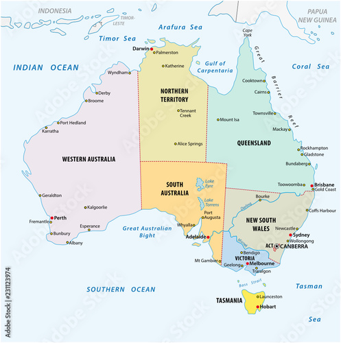 Map Of Australia To Buy.Simple Vector Outline Administrative And Political Vector