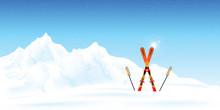 Winter Ski Resort Against Winter Landscape.