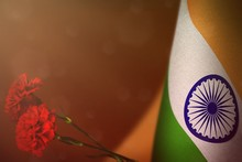 India Flag For Honour Of Veterans Or Memorial Day With Two Red Carnation Flowers. Glory To India Heroes Of War Concept On Red Dark Velvet.