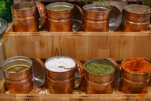 Spices In Metal Bowls
