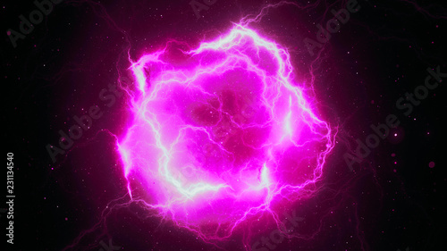Photo  Pink glowing high energy lightning, computer generated abstract background