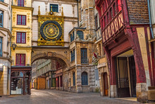 Old Cozy Street In Rouen With Famos Great Clocks Or Gros Horloge Of Rouen, Normandy,France
