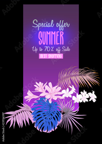 Fototapety, obrazy: Template for greeting card, invitation or banner  with tropical plants