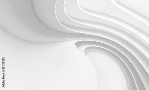 Photo Stands Abstract wave Abstract Architecture Background. White Circular Building
