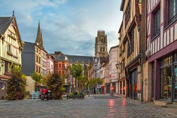 Rouen, France. Place du Lieutenant-Aubert with famous old normandy buildings