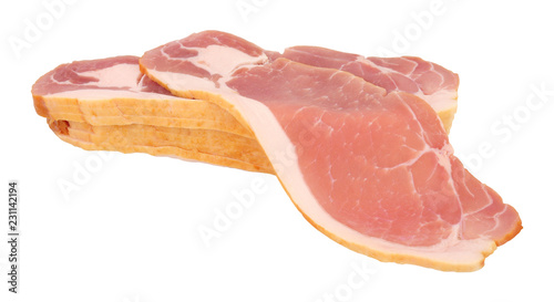 Raw smoked back bacon rashers isolated on a white background