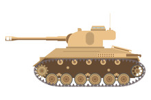 The American Average Tank Of World War II And A Tower With The Gun And A Machine Gun.Side View Armored Army Vehicle With A Caterpillar. Weapon In Flat Style A Vector. An Icon For The Website.