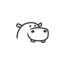 Hippo Logo Line Outline Mascot Character