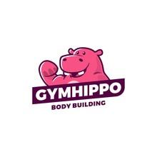 Gym Hippo Logo Vector Sport Illustration Emblem