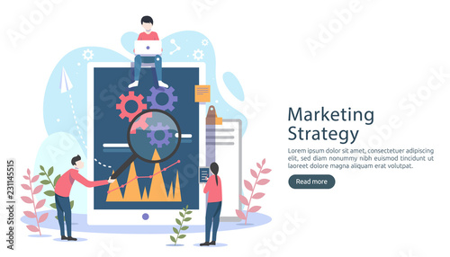 Photo  digital marketing strategy concept with tiny people character, table, graphic object on computer screen