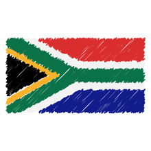 Hand Drawn National Flag Of South Africa Isolated On A White Background. Vector Sketch Style Illustration. Unique Pattern Design For Brochures, Printed Materials, Logos, Independence Day