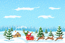 Suburban House Covered Snow. Building In Holiday Ornament. Christmas Landscape Tree, Forest, Santa Sleigh Reindeers. New Year Decoration. Merry Christmas Holiday Xmas Celebration. Vector Illustration