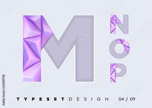 Vector 3D Typeset Design  Futuristic Textured Alphabet with