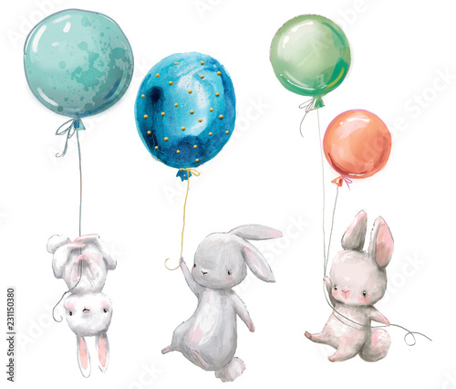 fototapeta na ścianę Little cute hares collection fly with balloon.