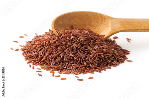 Wild red rice pile isolated on white background