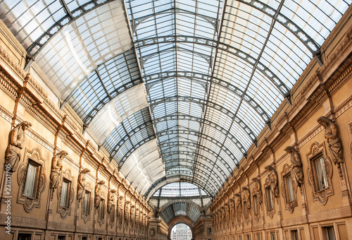 Staande foto Milan The glass rooftop of Galleria Vittorio Emanuele II in Milan, Italy. Built in 1875 this gallery is one of the most popular landmarks and luxury shopping areas in the city