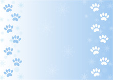 Winter Paw Prints Of Pets On Snow With Copy Space For Your Text.