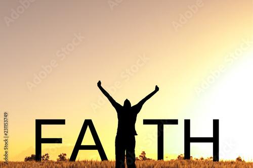 Faith text with Celebrating Man Fototapete