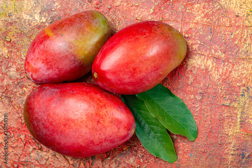 National fruit of India, Pakistan, and Philippines tropical organic ripe red mango ready to eat