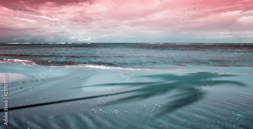 Foto op Aluminium Oceanië Tropical sea and pink sky background. Travel background.