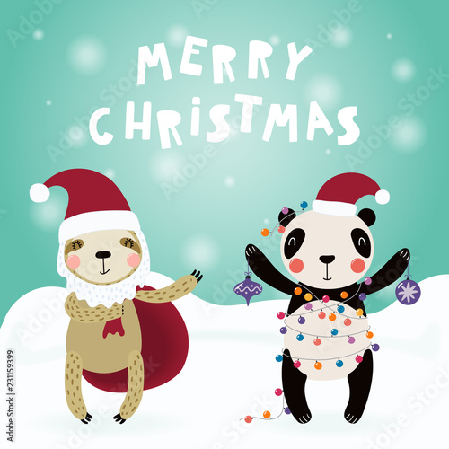 Photo sur Aluminium Des Illustrations Hand drawn card with cute funny sloth, panda in Santa Claus hats, with sack, decorations, lights, text Merry Christmas. Vector illustration. Scandinavian style flat design. Concept for children print.